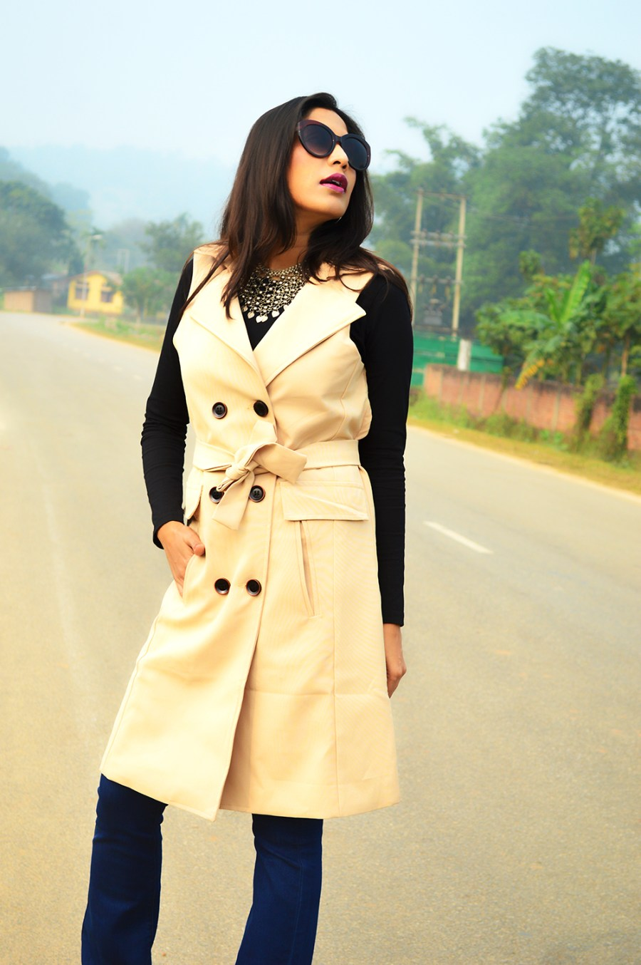Sleeveless, Trench Coat, Bootcut Denims, Fashion, Style, Photography, Street Style, Indian Blogger, Fashion Blogger-4