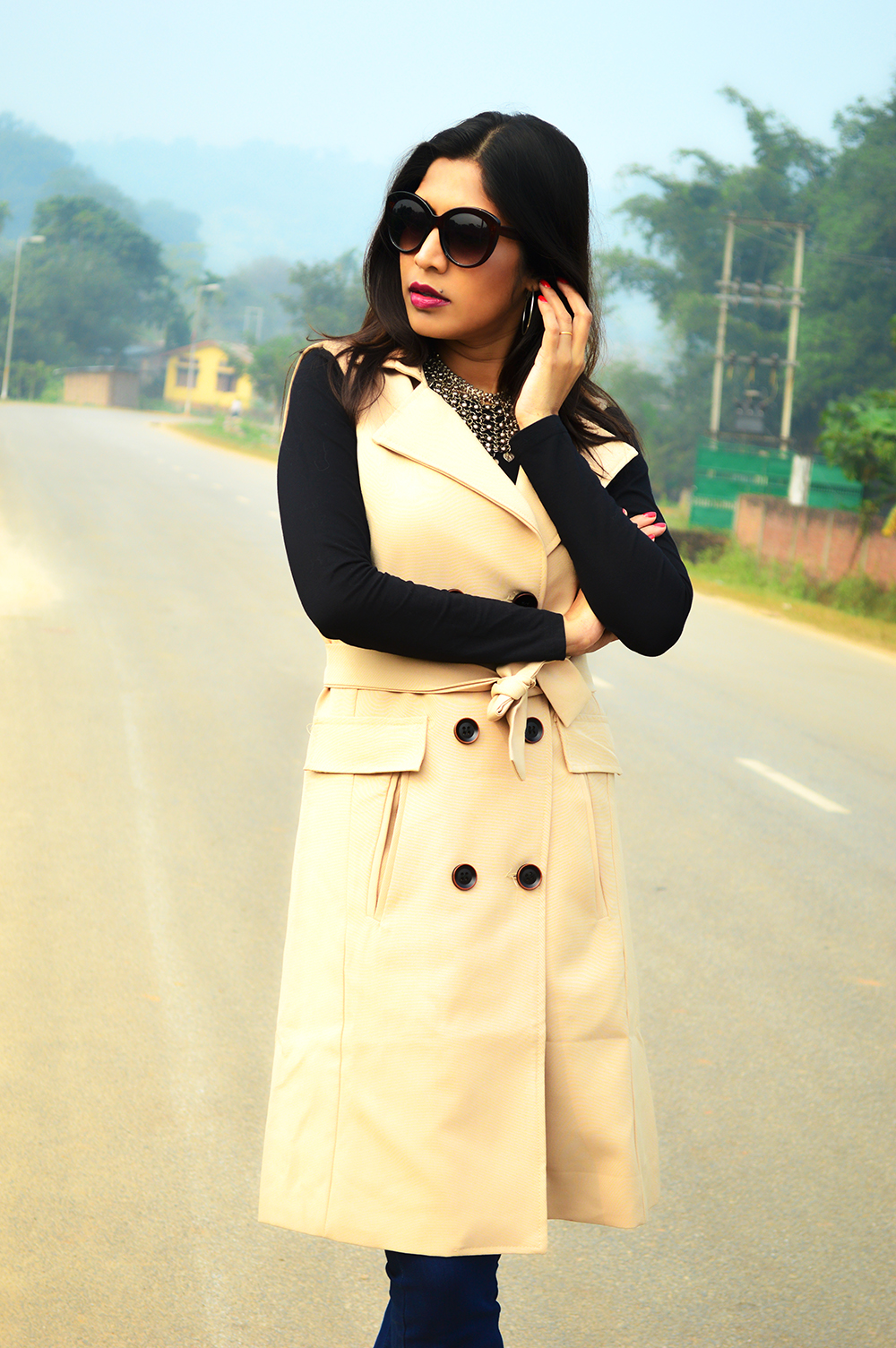 Sleeveless, Trench Coat, Bootcut Denims, Fashion, Style, Photography, Street Style, Indian Blogger, Fashion Blogger-6