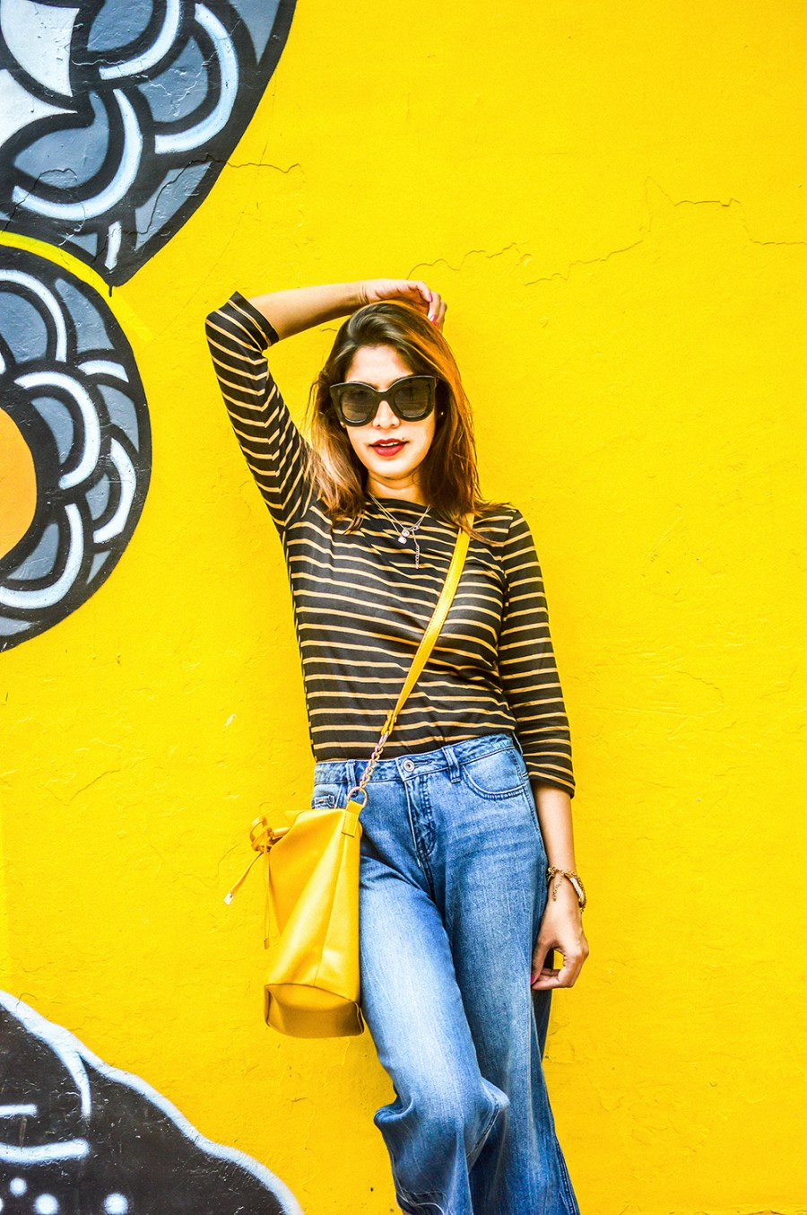 Denim, Culottes, Yellow Bag, Delhi Trip, Striped Top, Fashion Photography, Motivation-1