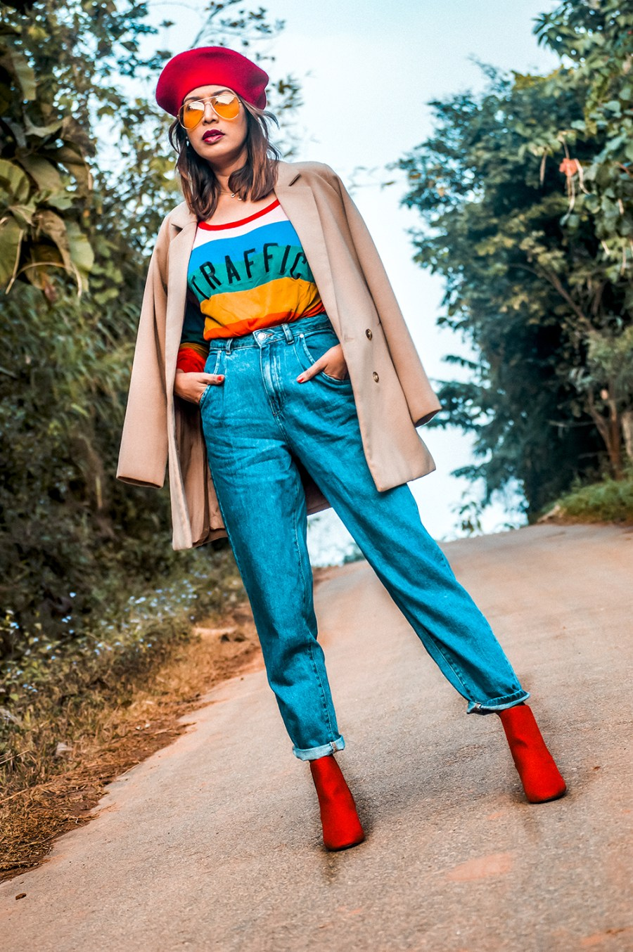 Winter Wear, Bright Colors, Denim Style, Red Boots, Pleated Denim, Red beret, Indian Fashion Blogger, Indian Influencer-2