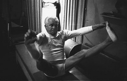 Josef Pilates in a Pilates move