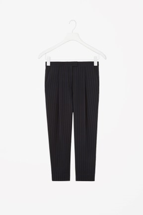 COS STRIPED SILK TROUSERS black and blue