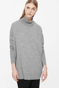 COS ROLL-NECK MERINO JUMPER light grey