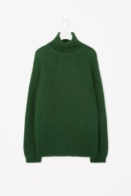 COS HIGH-NECK JUMPER green