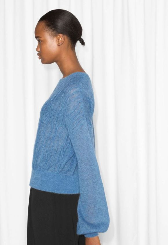 &Other Stories Mohair Blend Sweater blue