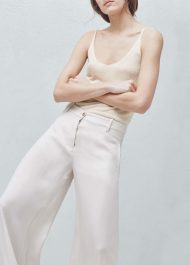 Mango PREMIUM - Palazzo cupro trousers in sand