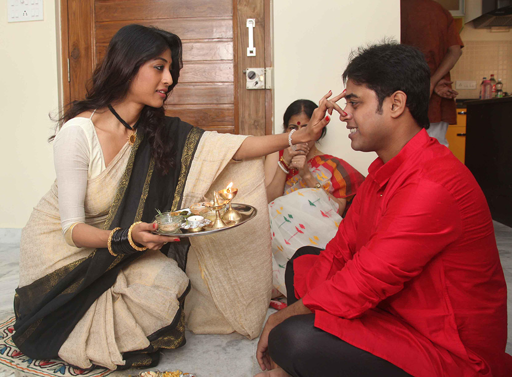 Actress Paoli Dam celebrates `Bhai Duj` with her brother in Kolkata.