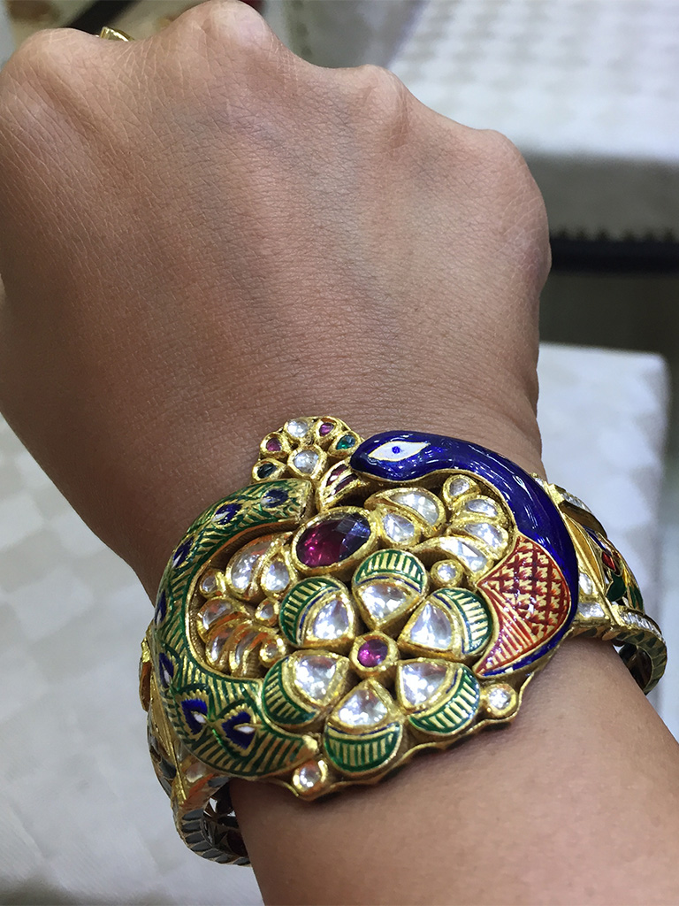Classic Peacock  Kundan Kada With Gemstones And Enamel. PC- Style Prer
