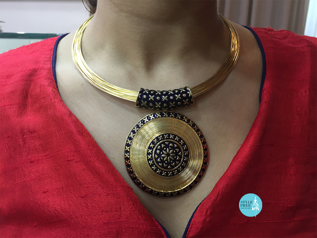 Gold Pendant With Enameling- Heritage Collection By Sphere.