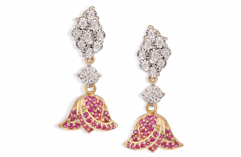 Niloufer Lotus Danglers With Pink Sapphires. PC- Tanishq