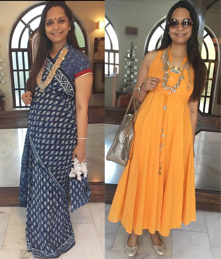 (L-R)Sarika Jaju Wearing An Indian Handloom Saree A Handcrafted Jude Temple Neckpiece. She Wears An Orange Dress Teamed With Her Comb Collection Necklace. Jewelry From Divaa.