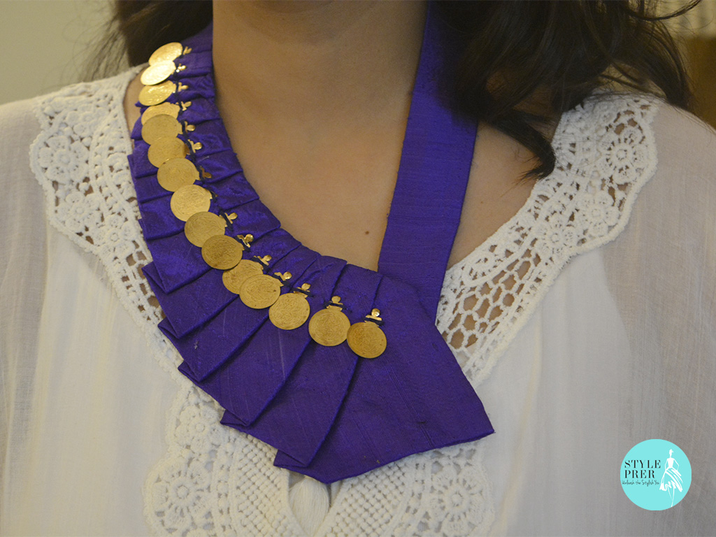Fabric & Coin Fan Necklace-Divaa.