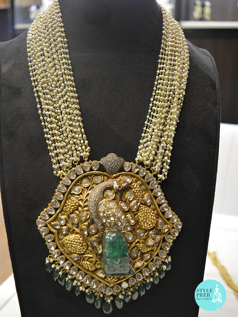 Handcrafted Peacock Necklace With Carved Emerald- Ghatiwala Jewellers.