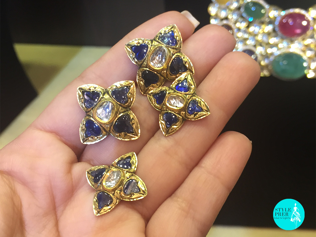 Blue Sapphires, Polki Set In Gold-Rambhajo Jewellers