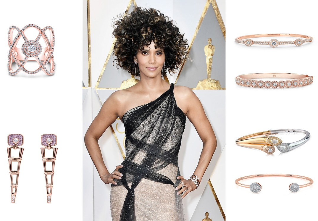 Halle Berry perfectly accented her outfit with edgy drop earrings and stacks of Forevermark diamond bangles for a striking statement look. PC- Forevermark And StylePrer