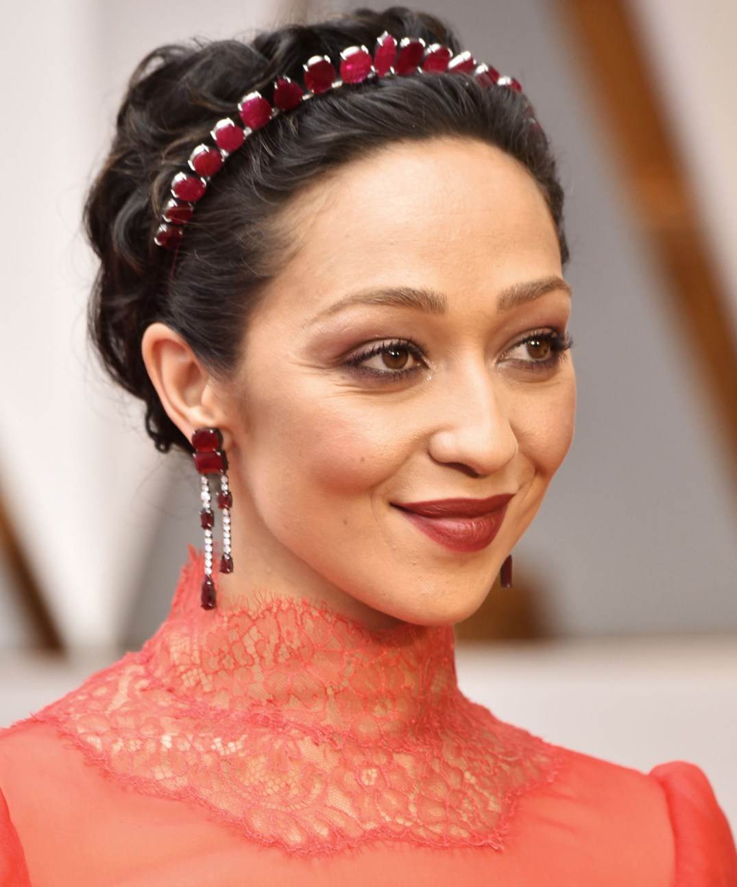 Ruby Rules! Ruth Negga wears an Irene Neuwirth with Mozambique Rubies by Gemfields. Her head jewelry is studded with 146.16 carats of Gemfields Mozambican rubies, the earrings are studded with 37.18 carats of Gemfields Mozambican rubies and 3.26 carats of diamonds. She also wore a 14.89 carat ring Gemfields Mozambican ruby ring surrounded with white pave set diamond in blackened white gold. PC- Forbes