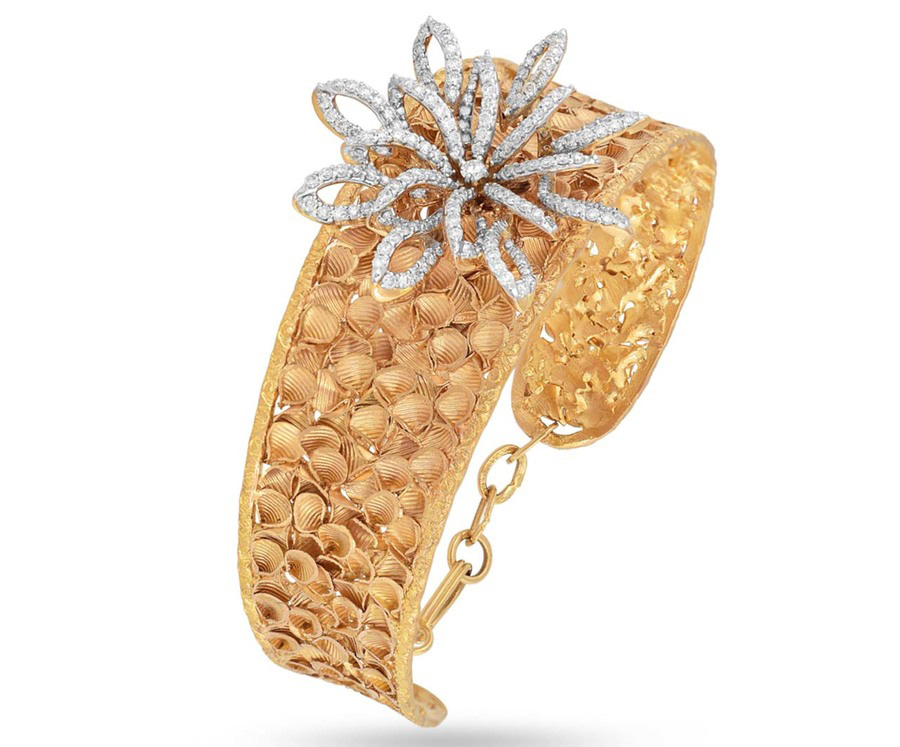 18Kt Gold Textured Broad Gold Bangle Studded With Diamonds. PC- Velvetcase