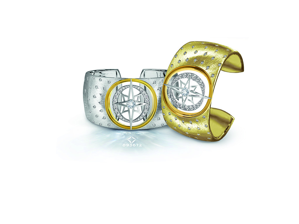 Flush Set Diamonds And Textured Cuff From Forevermark Artemis.