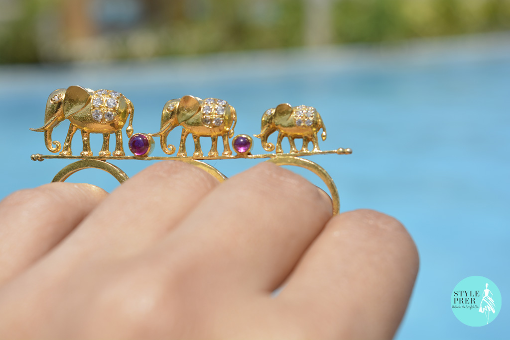 Gold Plated Silver Three Finger Ring With Elephants In Graduation