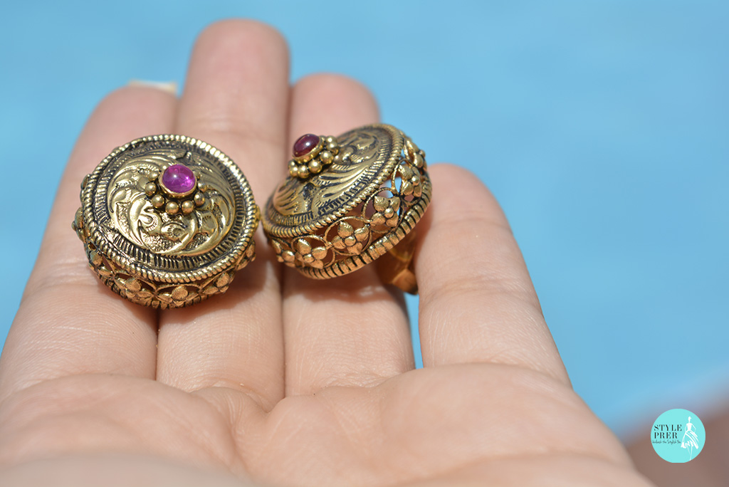 Gold Plated Silver Stud Earrings Festooned With Jaali Work On Sides
