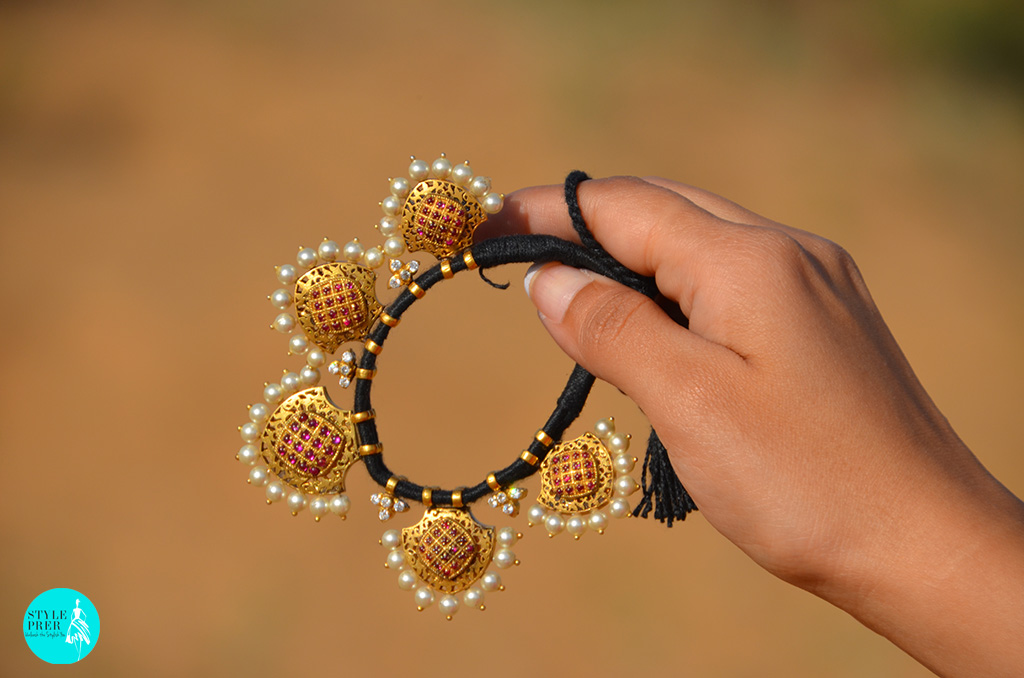 In The Dunes Of Pushkar, Rajasthan Wearing A Gold Plated Silver Panki Bangle (Armlet) With Stones And Pearls