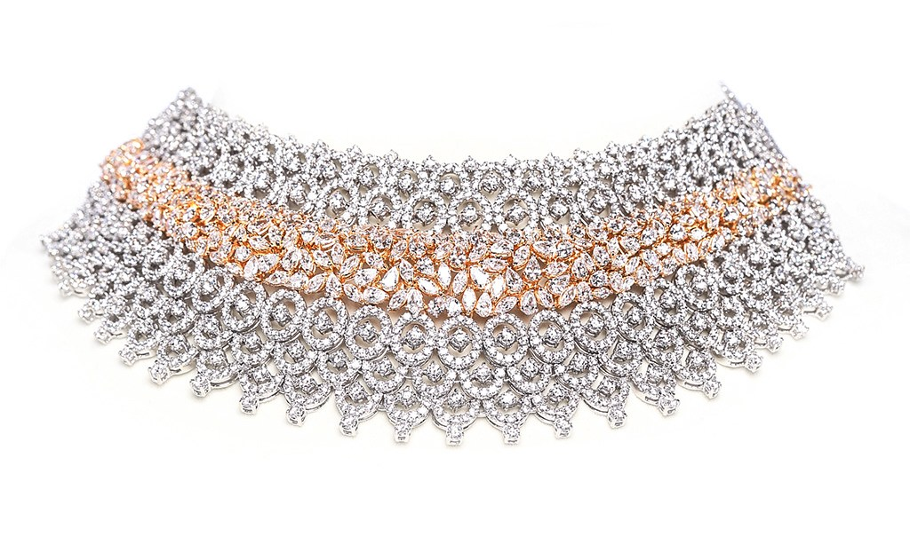 Dual Tone Geometric Bridal Choker With Round And Fancy Shaped Swarovski Zirconia. PC- Swarovski Gemstones.
