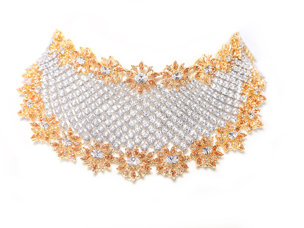 Dual Tone Floral And Checkered Bridal Choker Encrusted With Round And Fancy Shaped Swarovski Zirconia. PC- Swarovski Gemstones.