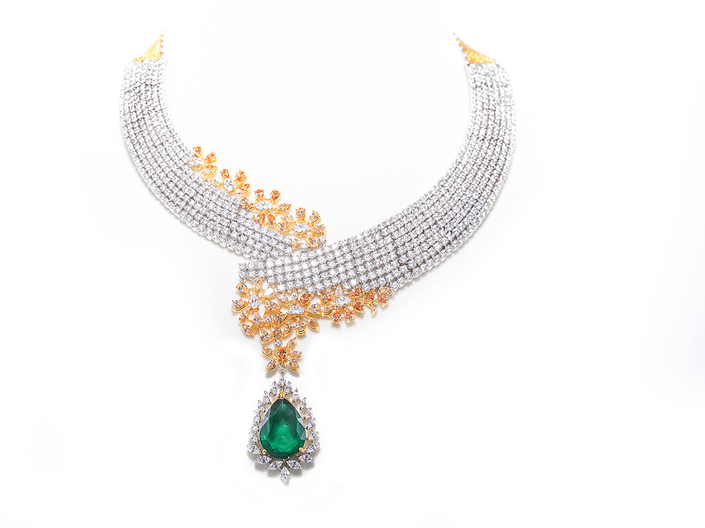 Bridal Layer On Layer Dual Tone Necklace With Bold Pear Gemstone And Swarovski Zirconia. PC- Swarovski Gemstones.