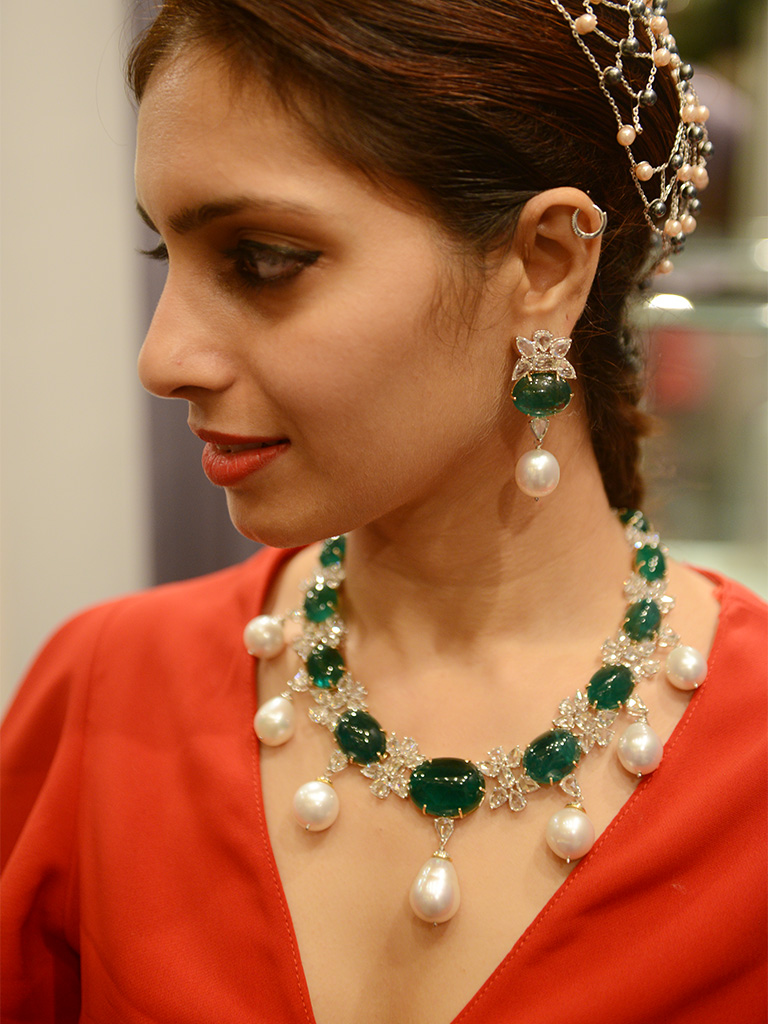 Bold Emerald Cabochon And Pearls With Rose Cut Diamonds By Bharanys And Lubhyati.