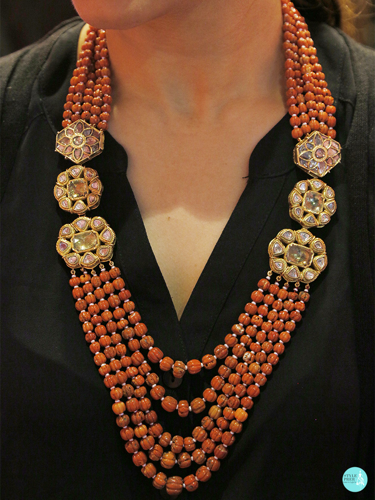 Antique Old Mine Cut Polki Necklace With Layered Coral Beads From Golechas