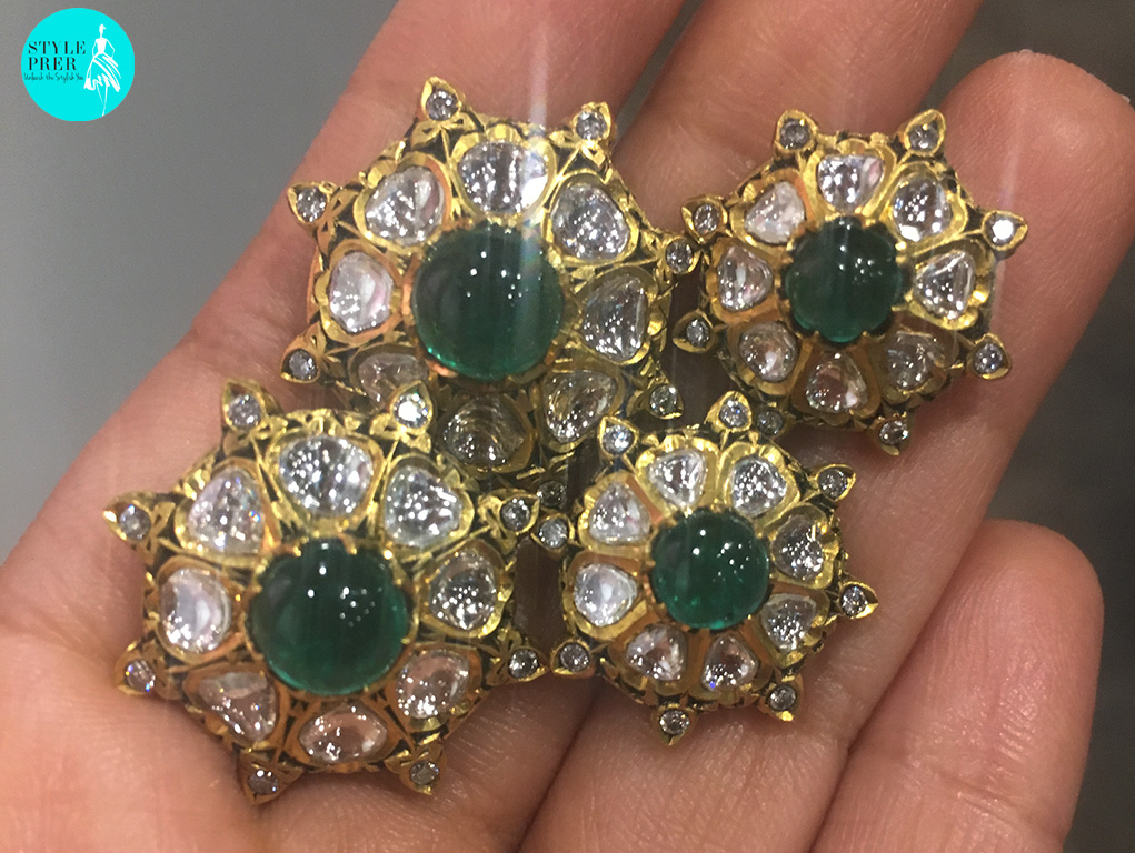 A Set Of Jadav Mens Kurta / Sherwani Buttons Centered With Cabochon Emeralds As The Diamonds Glitter When I Shot Them From An Iphone.