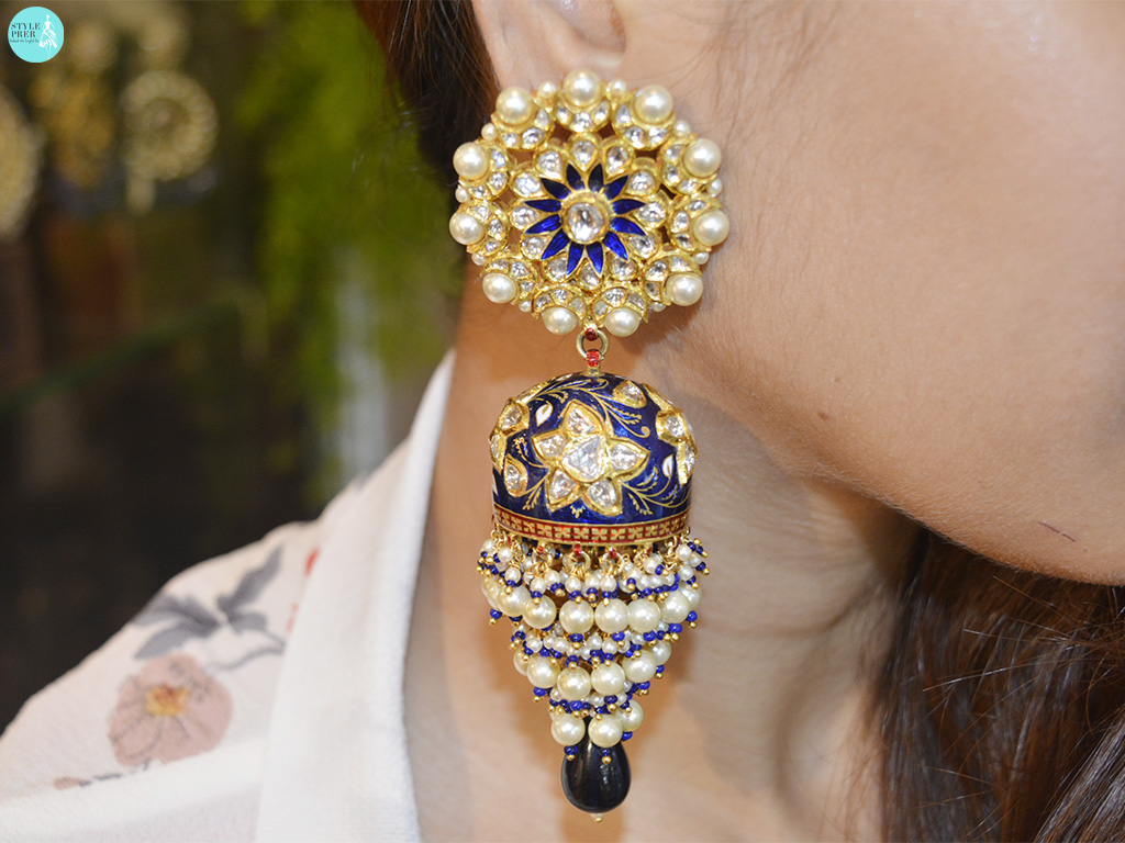 Polki Jhumkas With Blue Sapphire, Enamel And Pearl By Golechas