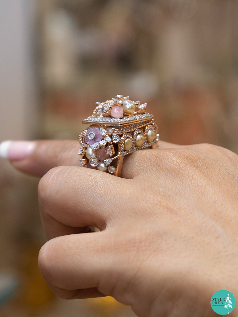 Unique Gemstone Ring with watch from Sanskriti Jewels at IIJS 2019