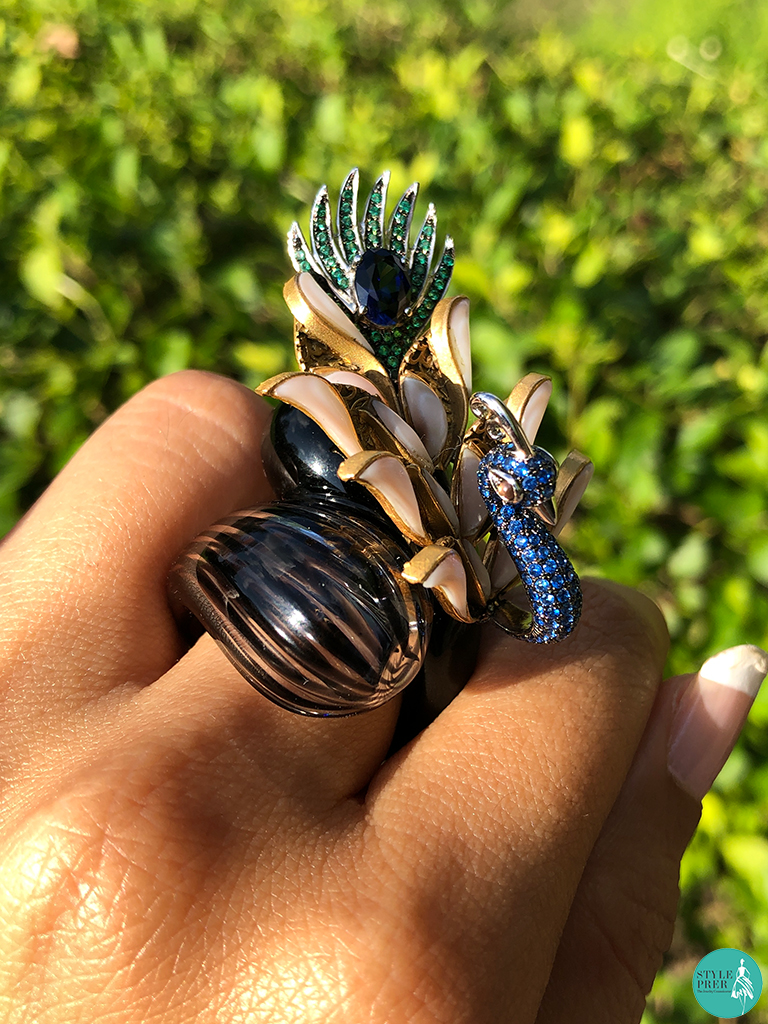 Peacock And Blown Glass Ring By Anand Shah