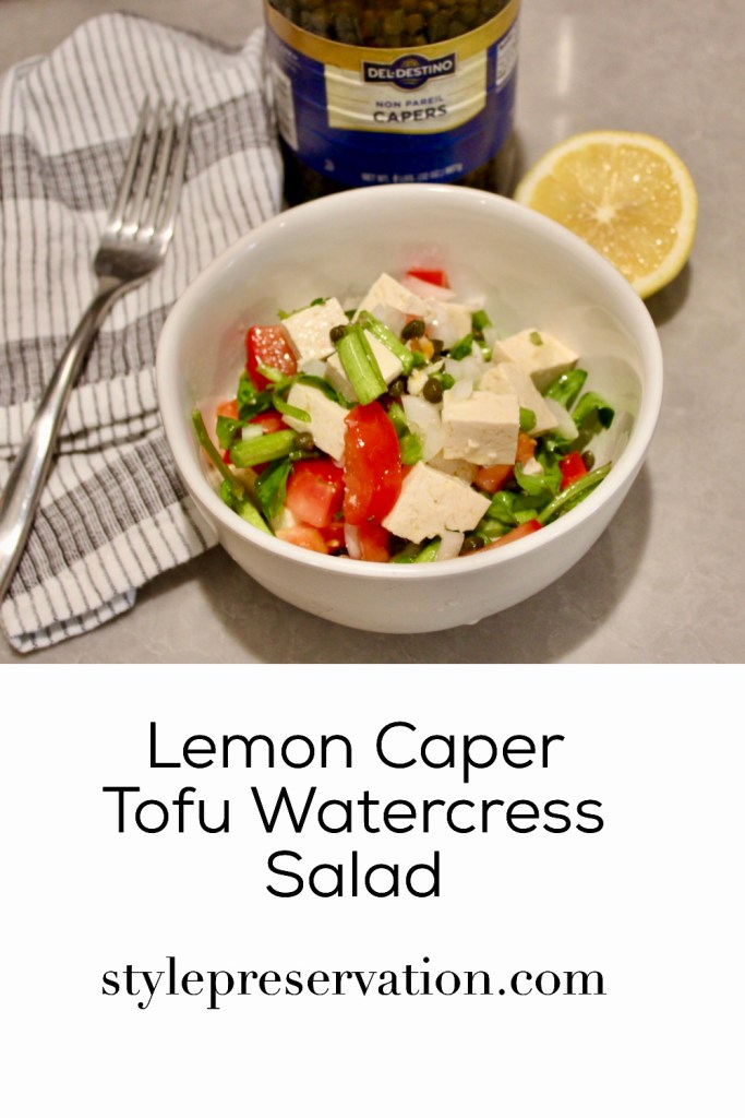 Lemon Caper Tofu Watercress Salad title picture