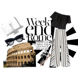 When in Rome look Fabulous in a linen Palooza pant and ruffle off the shoulders top paired with metalic gladiators , a YSL cross body bag and Prada shades