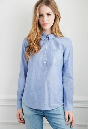 Forever 21 Chambray Popover Blouse