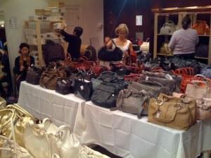 Table full of Furla bags