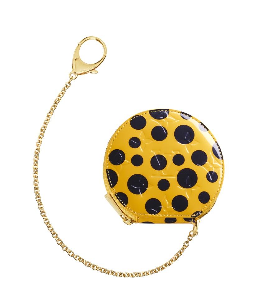 Yayoi Kusama Louis Vuitton Coin Purse Chapeau Monogram Vernis Dots Infinity yellow
