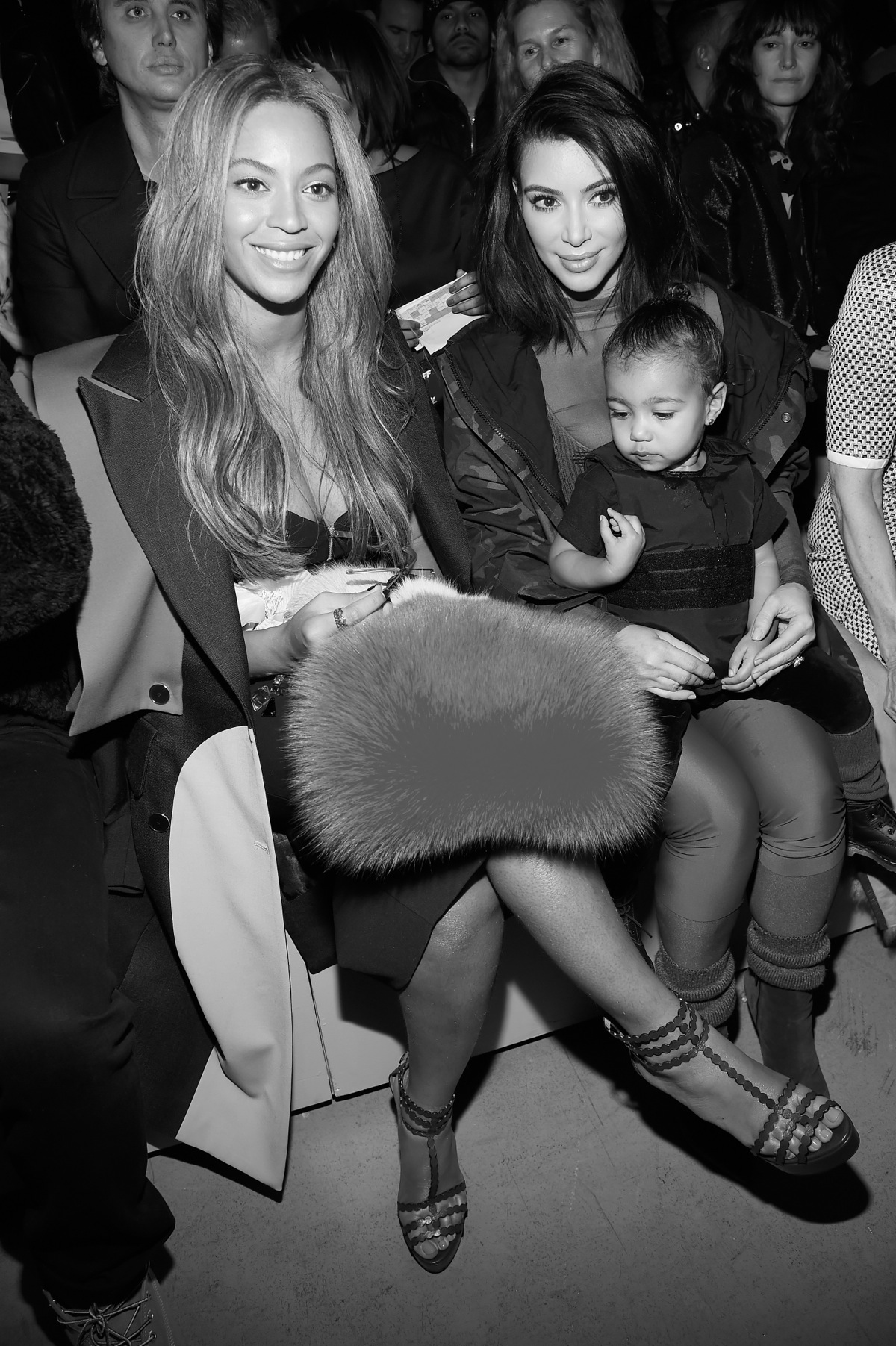 Beyonce Kim Kardashian and daughter North attend the adidas Originals x Kanye West YEEZY SEASON 1 fashion show