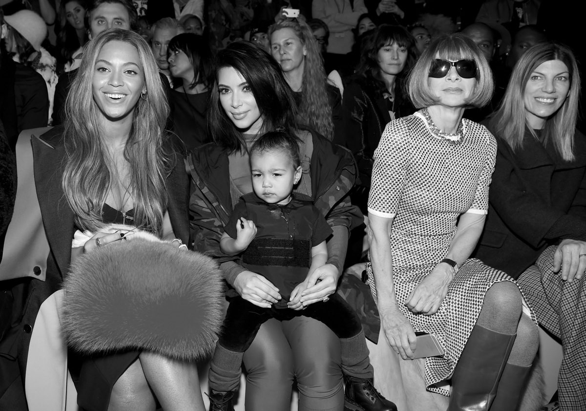 Beyonce Kim Kardashian with daughter North and Anna Wintour attend the adidas Originals x Kanye West YEEZY SEASON 1 fashion show