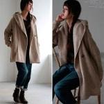 30代・40代に人気のレディースファッション通販。秋冬のコーディネート2016。【ビッグフード起毛ニットソーミドル丈コート】