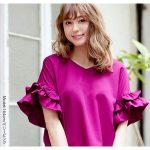ボリュームフリル袖Vネックブラウストップス。安可愛いプチプラファッション神戸レタス2017春夏流行のトレンドアイテム