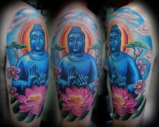 Blue Buddha Sleeve Tattoos