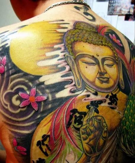 Colorful Buddha Tattoos On Back
