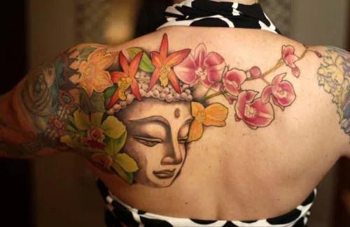 Floral Buddha Tattoo Design