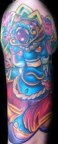 Blue Ganesha Full Sleeve Tattoo