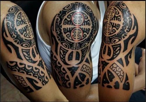 Human Symbol Half Sleeve Maori Tattoo