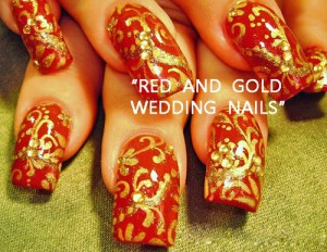 Red Hearts Nail Art For Indian Brides