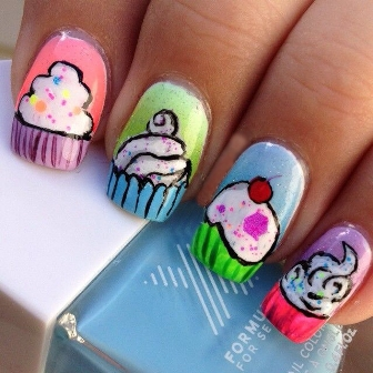 Cup Cakes And Ice Creams Nail Art Try